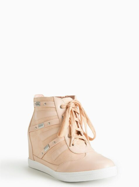 0b0297464b4 Torrid Faux Leather Wedge Sneakers Shoes Blush Pink Wide Width Size 8  2087