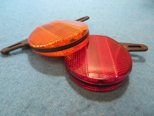 "New vintage Schwinn Retro Bicycle Wheel Reflectors  2-1//2/"" Red//Orange Set of 2"