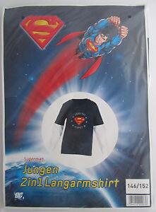 Jungen-2-in1-Shirt-Superman-Dunkelblau-Weiss-146-152-Langarm-Neu-OVP