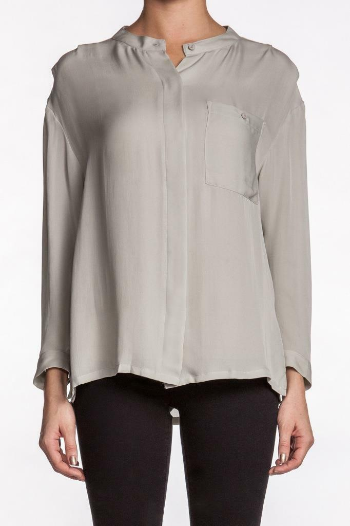 NSF TAYLOR Top Seafoam Long sleeves Gauze rolled up Button down Designer NEW