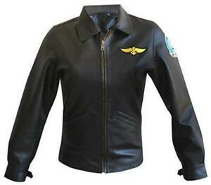 Real Style Slim Black Gun Military Top Leather Women's Jacket Fit Kelly Mcgillis tvnqYxqR