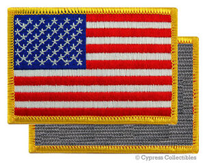 AMERICAN-FLAG-EMBROIDERED-PATCH-GOLD-BORDER-USA-US-w-VELCRO-Brand-Fastener