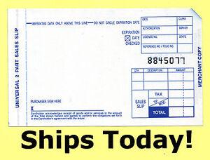 new 500 short 2 part credit card sales slip manual imprinter draft
