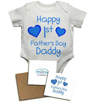 Gifts for New Dads Personalised Baby Vests Happy First/'s Father/'s Day Daddy