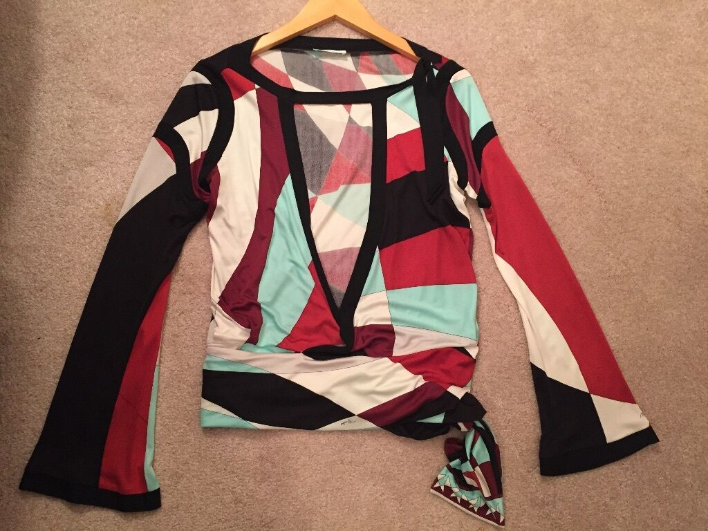 Emilio Pucci Silk Wrap Blouse Size 4