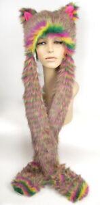 Faux-Fur-Hood-Cat-Animal-Pockets-Teen-Gift-Pink-Long-Arms-Snowboard-Kawaii