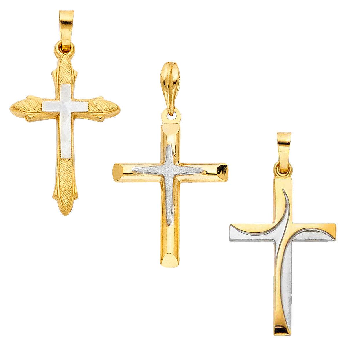 14K Two Tone gold Religious Cross Pendant For Classic Religious Cross Pendant