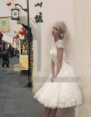 Auf New Weiß / Elfenbein-Spitze-Kurz Brautkleid,Ballkleid Brautjungfer Gr:34-46