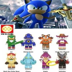 8 pcs minifigures Sonic Jet Chaos Sticks Anime Sonic The Hedgehog  lego MOC