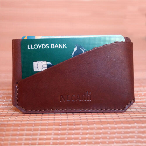 Real Leather  Small Id Credit Card Wallet Holder Slim Pocket Case Tan and Black