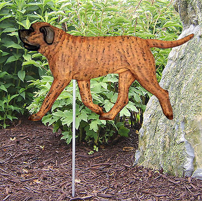 Mastiff Outdoor Garden Dog Sign Hand Painted Figure Apricot Brindle