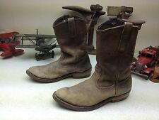 BROWN DISTRESSED OLD OIL RIG HARD NOSE TOOL PUSHER RED WING USA BOSS BOOTS 10 D