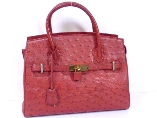 A824 la de Fuera avestruz Unbranded marca bolso de de cuero rojo exótico mano Zq7461