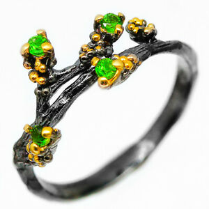New-Fashion-Popular-Design-Jewelry-Natural-Chrome-Diopside-Silver-Ring-RVS218