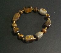 Qvc Tiger Eye Ladies Brown Bracelet 7 Long Beaded Resin Material