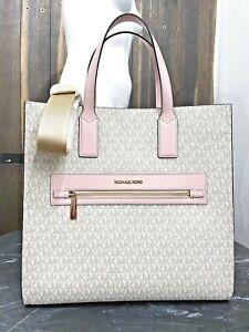 Michael Kors Kenly Large Tote Logo Signature PVC Bag Powder Blush Pink Vanilla
