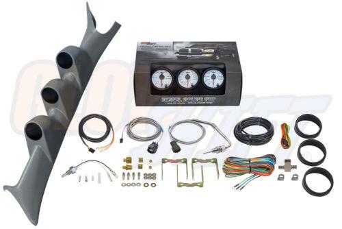 W7 Boost 2400 EGT Trans Temp Gauges Gray Pillar Pod for 99-07 Ford F250 F350