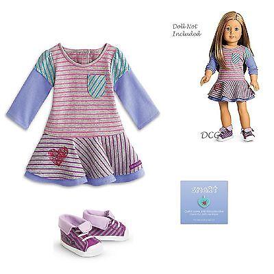 American Girl My Ag Schule Streifen Kleid Outfit Für 45.7cm Puppen Im Ruhestand Without Return