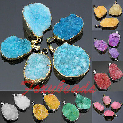 Natural Druzy Rock Crystal Quartz Gems Gold Tone Charm Pendant for Necklace DIY