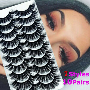 10-Pair-Natural-Mink-Hair-False-Eyelashes-Thick-Cross-Long-Lashes-Wispy-Fluffy