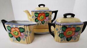 Vintage-Lusterware-Made-in-Japan-Iridescent-Tea-Set-Creamer-Sugar-Bowl-Teapot