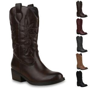Details zu 895829 Damen Cowboystiefel Warm Gefütterte Western Stiefel Cowboy Boots New Look