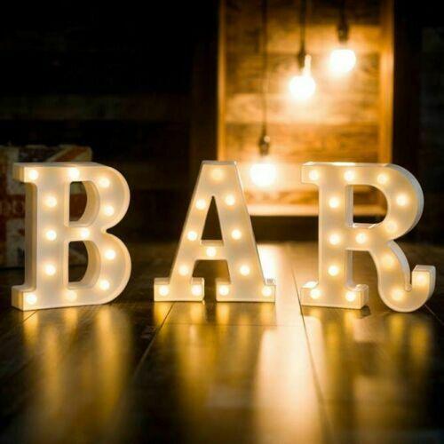DIY LED Marquee Letter Light 'BAR' Vintage Alphabet Light Up Sign Wedding Party