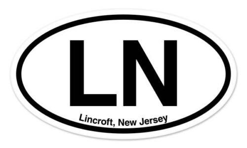 "LN Lincroft New Jersey Oval car window bumper sticker decal 5/"" x 3/"""