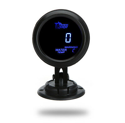 "2"" 52mm UNIVERSAL DIGITAL BLUE LED WATER TEMP TEMPERATURE GAUGE METER CAR BLACK"