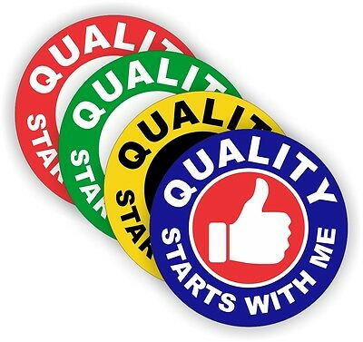 (4) Quality Starts With Me Hard Hat Stickers Helmet Decals Safety Labels Badges