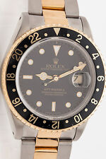 Rare GMT 2 Mens Rolex 18k Gold SS Watch & Box MINTY