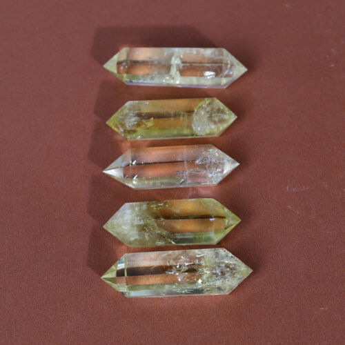 5Pcs Bulk Natural Citrine Double Terminated Wands Yellow Crystal Points Specimen