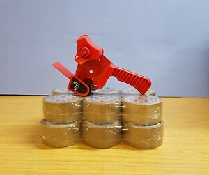 TAPE GUN DISPENSER + 12 HUGE ROLLS OF BROWN BUFF 48MM x 66M PARCEL PACKING TAPE 7091045844288