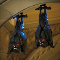 24 Animated Sound Activated Hanging Vampire Bat Outdoor Halloween Prop Decor