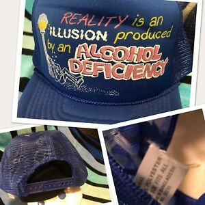 NOS-Vtg-Novelty-REALITY-ILLUSION-ALCHOHOL-DEFICIENCY-Trucker-Mesh-Snapback-Hat