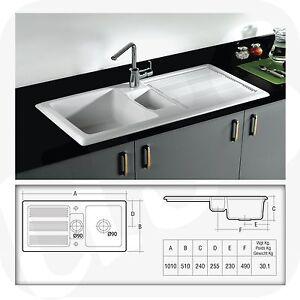 Ceramic 1.5 Bowl Kitchen Sink With Waste by RAK Ceramics White 20 ...
