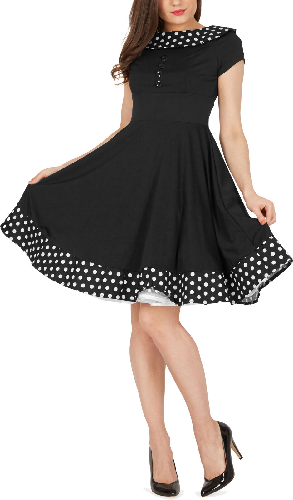 RHIANNA  Vintage a pois pin up 1950's Rockabilly Swing Prom Dress