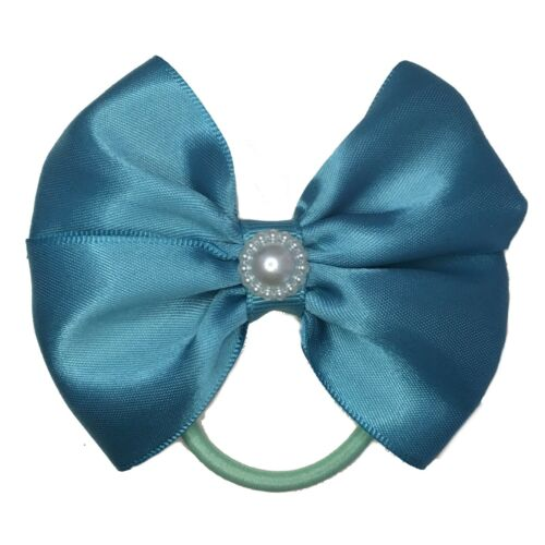 """4/"""" Handmade pair girls hair bows bobbles school colours for bunches tie ponytail"""