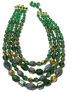 STUNNING VINTAGE GERMAN 4 STRAND ASSORTED ART GLASS BEAD NECKLACE GOLD TONE