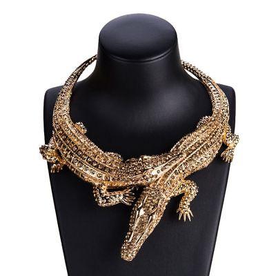 New Alligator Austrian Crystal Gold Tone Pendant Chain Necklace Gator