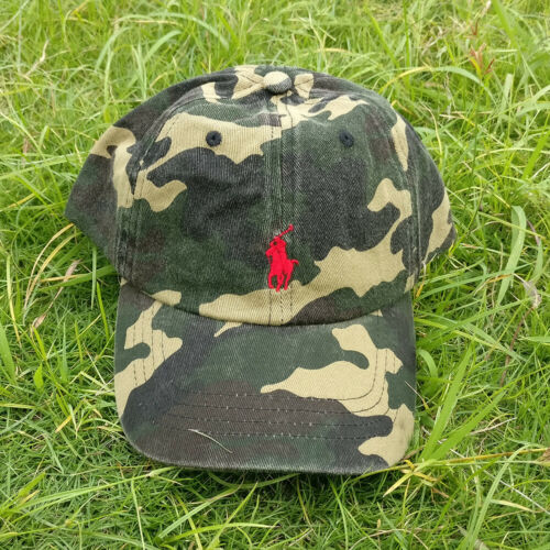 Polo Cap Men Embroidered Horse Cotton Chino Baseball Cap Camouflage//Red Hat