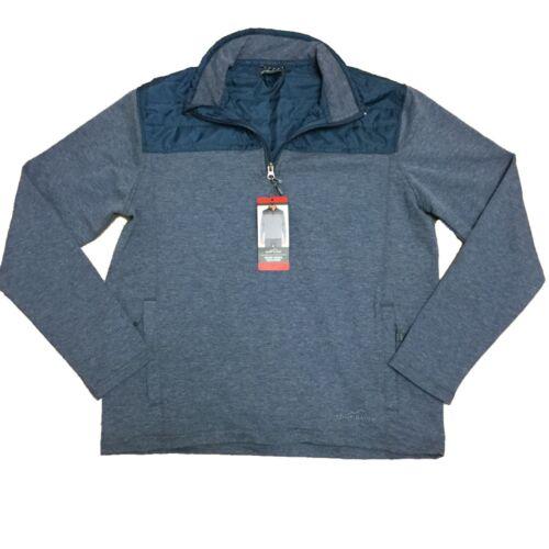 1226392 Eddie Bauer Mens Mixed Media 1//4 Zip Lightweight Knit Pullover Jacket