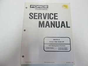 1996 force outboards 40 50 hp service shop workshop repair manual rh ebay com 40 HP Force Outboard Solenoid 40 HP Johnson Outboard