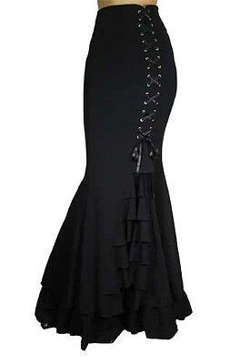 MERMAID fishtail Long RUFFLED Black Corset Skirt STEAMPUNK RENAISSANCE 60190
