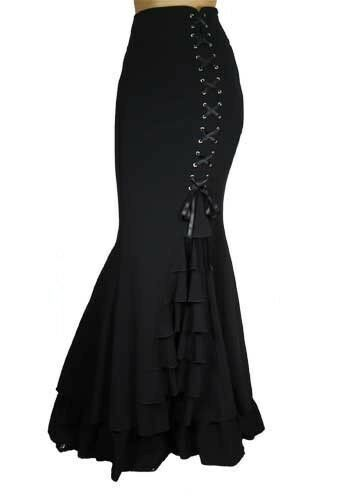 MERMAID fishtail Long RUFFLED Black Corset Skirt STEAMPUNK RENAISSANCE 60190