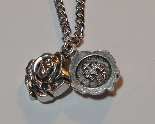 """Rose Locket-Style Miraculous Medal on 24"""" Continuous Stainless Steel Chain NEW"""