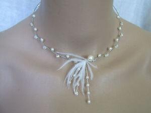 Collier Blanc Ivoire plume p robe de Mariée Mariage Cérémonie perle ... ffb01fd84d88