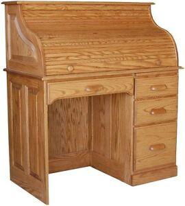 Amish rolltop writing computer desk home office furniture oak solid wood new ebay - Home office furniture solid wood ...