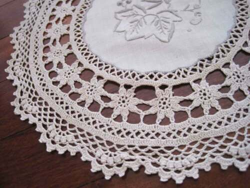 Vintage Style Grey Thread Hand Embroidery Wide Crochet Lace Beige Cotton Doily