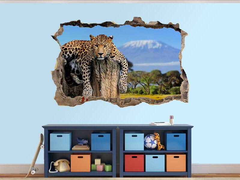 Leoparden Sitzend auf einem Baum Foto Loch in Wandaufkleber Wandbild (37378230)